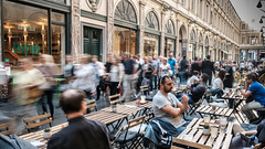 Foot Traffic. (James-Burke) Tags: slowshutter cafes customers candid belgium brussels streetphotography street foottraffic walkers pedestrians