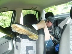 P1110210 (barelegadventureboy) Tags: bare legs barelegs short shorts shortshorts hotpants docmartens legsoncar car denimshorts legslove legspose