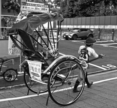 Passing Rickshaw (tacosnachosburritos) Tags: kyoto ancient machiya tourists thestreets street photography man guy girl woman lady chick kimono turning japanese japan shops shopping road pretty beautiful lovely people asian humanity landscape temple lantern buddha faith city