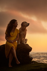 Patricia&Maggie (Alexandremqs) Tags: status dogs doglove labrador explore expression yourbestoftoday yellow dress dream dramatic sky clouds ocean beautiful beach pets portugal portrait perro photography pose photoshoot warm colors hour golden family scene sunset girl