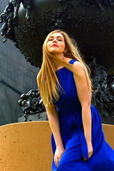 Emelia 59 (TheseusPhoto) Tags: female model modeling woman girl pretty elegant beautiful dress bluedress blonde hair colors colorsoftheworld portrait portraiture