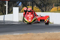 Over the Rise (3/3) (Jungle Jack Movements (ferroequinologist)) Tags: winton raceway sidecar f1 f2 motor bike motorcycle vic victoria passenger pillion rider beare brothers boys racing race alvin suzuki gxs reynolds warne watson yamaha yzf alton clancy lcr pass speed car cars hottie track practice pole position times timing hard competition competitive event saloon sports racer driver mechanic engine oil petrol build fast faster fastest grid circuit drive helmet marshal starter sponsor number class motorsport classic japan japanese