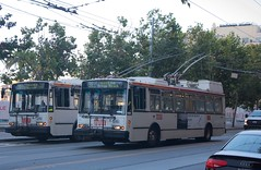 31-Balboa to: Ocean Beach, passing a parked 21-Hayes to: Stanyan St. (Peter Hosey) Tags: sf sanfrancisco muni bus trolleybus 31balboa 21hayes