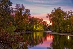 Calgary Fall 2018 colours (John Andersen (JPAndersen images)) Tags: alberta calgary city colours elbowriver evening fall skyline sunset