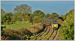 Early Autumn in Lancs (david.hayes77) Tags: 6e32 class70 colas bitumen freight cargo tankers tanks hoghton lancashire lancs autumn 2018 tree landscape pasture chapellane countryside 70802