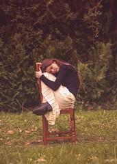 Sur la Chaise (Amélie Lune) Tags: nymphe belle fille girl photographie art artphotography photography forêt forest nature arbre trees feuille fleurs flower légende mythe celte magie fée robe dress longue ciel herbe enchantée conte de cheveux long chatain shooting beautifull sexy feuillage violet purple yellow printemps spring magic orange modèle shoot danseuse dancer