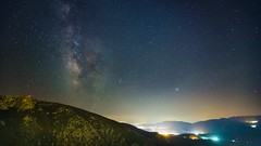 20181008_F0001: A hazy mountain sky time-lapse (wfxue) Tags: astronomy night sky milkyway galaxy mars jupiter planet tralis stars dark bright trees forest woods delphi gulfofcorinth mountains peak fog humid haze clouds city light cars perseids meteors longexposure astrophotography timelapse video