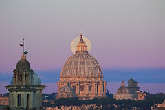 The full Moon and St. Peter's Dome (Up and Down the Horizon) Tags: moon luna supermoon dome roma rome superluna cupola italia lunapiena fullmoon italy dawn alba sanpietro stpeter
