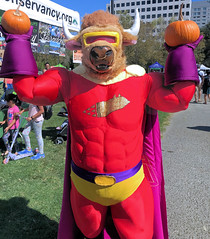 Bull-Itt the Superbull goes to Pumpkins in the Park 2018! (critter superhero) Tags: halloween superhero bull beefy muscle buffed costume spandex speedo festival sanjose