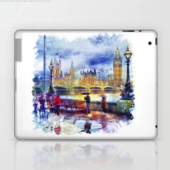London Rain watercolor Laptop & iPad Skin (marianv2014) Tags: london uk unitedkingdom greatbritain westminster bigban passersby umbrellas rain rainyday raining fineart cityscape urbanlife citylandscape londonview lamppost wet water brown red blue green clouds bridge housesofparliament overcast purple mauve citysymbol illustration artwork colorful beautiful tourism scenery city view europe contemporary european outside decor landmark charming laptop skins