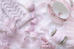 292/365: Shades of pink (judi may) Tags: 365the2018edition 3652018 day292365 19oct18 pink ribbon cupandsaucer lace biasbinding october2018amonthin31pictures handwarmers canon5d 50mm flatlay stilllife tabletopphotography highkey