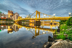 Golden Reflections (tquist24) Tags: alleghenyriver andywarholbridge hdr nikon nikond5300 outdoor pennsylvania pittsburgh architecture bridge city clouds downtown geotagged lights longexposure morning reflection reflections river rock rocks sky skyscraper skyscrapers urban water unitedstates