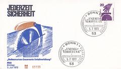 Deutsche Briefmarken (micky the pixel) Tags: briefmarke stamp ephemera deutschland bundespost ersttagsbrief firstdaycover fdc dauermarkenserie unfallverhütung kreissäge