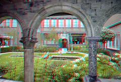 Binnentuin De Porceleyne Fles Delft 3D (wim hoppenbrouwers) Tags: binnentuin deporceleynefles delft 3d anaglyph stereo redcyan