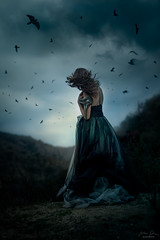 The Calling ({jessica drossin}) Tags: jessicadrossin portrait woman blue ravens crows sky dark haunted halloween hair wind mountains gloom gothic wwwjessicadrossincom
