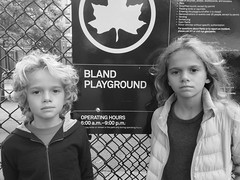 Kids At The Bland Playground (Joe Shlabotnik) Tags: playground blackandwhite october2018 queens cameraphone flushing bland everett sign violet galaxys9 2018 heylookatthis myfave