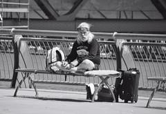 The Traveler (creepingvinesimages) Tags: hmmmonochrome mono blackandwhite monday bw street pdx bench park people traveler beard portland tommccallwaterfrontpark nikon d7000 pse14 topaz