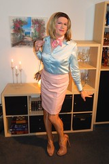 Babyblue and pink (Rikky_Satin) Tags: silk satin blouse leather pencil skirt pantyhose nylons highheels platform sandals crossdresser transvestite tgirl sissy secretary transformation feminization