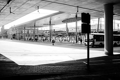 Walk The Line (tyrellblack87) Tags: light shadow blackandwhite blackwhite bw black white contrast lines shapes street streetphotography ghent belgium travel explore adventure walking bus station bridge fujifilm fuji fujix100s