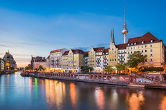 Along the Spree (Michael Abid) Tags: berlin skyline night germany city river spree panorama architecture landmark sunset tower tvtower fernsehturm alexanderplatz berlinerdom cathedral dom blue sky europe famous town oldtown altstadt historic history cityscape
