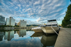 Along the North Shore Trail (tquist24) Tags: alleghenyriver hdr nikon nikond5300 northshoretrail pennsylvania pittsburgh boat boats city clouds downtown geotagged longexposure morning reflection reflections river sky skyscrapers water unitedstates