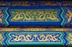 Painted beams in the Temple of Heaven, Beijing, China (Miche & Jon Rousell) Tags: china beijing templeofheaven qinianhall temple beams blue green gold phoenix
