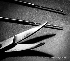 Day 305. (lizzieisdizzy) Tags: scissors blades needles blackandwhite feltingneedles serrated sharp point pointed craft mono shadow metal stainlesssteel implement tool curvedblades