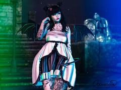 Creepy Cute (elocuenciaresident) Tags: hair ayashi candy hairfatpack tsh dress {kiukiu} candoween gacha eyes {s0ng} anime tail wings sweet thing succubus backdrop milk motion the old cemetery pose sugasuga yumi bento