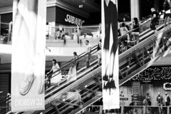 Feet Down The Subway (Alfred Grupstra) Tags: people store retail shopping shoppingmall escalator business indoors urbanscene walking modern airport architecture blackandwhite men blurredmotion consumerism citylife bulgaria