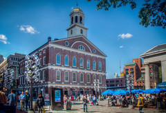 Faneuil Hall (donnieking1811) Tags: massachusetts boston faneuilhall bostonnationalhistoricalpark freedomtrail thecradleofliberty architecture building exterior marketplace meetinghall outdoors tree sky blue clouds umbrellas brick windows lamps cupola trolley people canon 60d lightroom photomatixpro