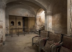 Old theatre foyer (Camera_Shy.) Tags: derelict abandoned old theatre decayed urban exploration italia ruin forgotten disused ue italy chairs seats urbex