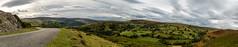 _DSC3559-354-332 (SteveKenilworth2014) Tags: glyndyfrdwy llangollen dinas bran valley wales denbishire panorama bw black white sheep farmland mountains mountain castle river dee countryside country lane clouds