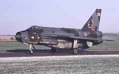BAC Lightning F.6 XS920 Bravo from 11 Squadron taxies past Crash Gate 3 following a morning sortie on a bitter January morning, 1981. (stcaamekid) Tags: 1981 rafbinbrook 11squadron lincolnshirewolds redtopacquisitionround englishelectric xs920 f6 crashgate3