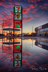 Wake up with 7-11 (peppermcc) Tags: 711sunrisepuddlepuddlesiphonephotoiphonephotographyreflection