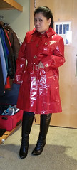 Burberrry Beauty (johnerly03) Tags: erly philippines asian filipina fashion high heel black knee length boots long hair shiny red mac raincoat burberry trench