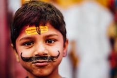 Hindu Child with Tilak Mark and Mustache (AdamCohn) Tags: adam cohn uttar pradesh india mathura vrindavan boy child holi mustache tilak tilaka wwwadamcohncom adamcohn uttarpradesh