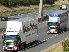 Eddie Stobart, Scania G410 (Keira Louise) & Scania R450  (Jovi May) Both With Double Deck Trailers. (Gary Chatterton 4 million Views) Tags: eddiestobarttrucksandtrailers eddiestobart stobart stobartgroup scaniatrucks scaniag410 scaniar450 doubledecktrailer keiralouise jovimay tescowork motorway motorwaybridge a1m truck trucking wagon lorry transport haulage hgv heavygoodsvehicle vehicle flickr explore photography canonpowershot
