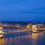 A busy Danube River during blue hour thumbnail