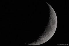 Moon slice (waxing crescent, illumination 22,7%). (Ciminus) Tags: emiliaromagna moonslice sliceofmoon nikon nikond500 luna nature ciminus spicchiodiluna italy moon ciminodelbufalo afsnikkor500mmf4gedvr wildlife naturesubjects