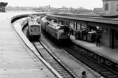 BR Brush Type 4 arrives at York with a cross country service passing Derby Class107 DMU with Newcastle on the Destination blind. 12th May 1979 © (steamdriver12) Tags: br brush type 4 arrives york railway station cross country service derby class 107 dmu multiple unit newcastle destination blind 12th may 1979 british railways diesel electric monochrome bw black white yorkshire england