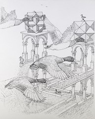MallardsAtTheWaterfall (Alex Hiam) Tags: escher mallard duck ducks flock birds flight waterfall illusion pen ink drawing illustration sketch