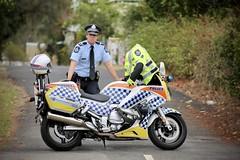 Queensland Police motocyclist, Browns Park North Ipswich. (Lance CASTLE) Tags: dof police roadpolicecommand queenslandpolice qps yamahafjr northipswich roadpolicingcommandofficer