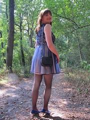 On my way (Paula Satijn) Tags: sexy hot girl dress skirt blue legs stockings pumps heels forest woods outside fun joy happy elegant feminine girly girlie sweet c cute pretty smile