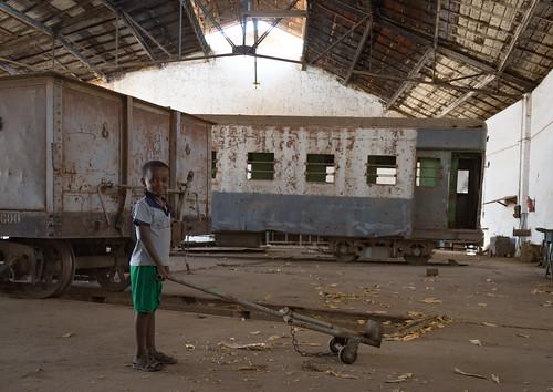Kid playing inside the abandoned ethio-djibouti railway station, Dire dawa region, Dire dawa, Ethiopia
