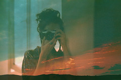 When you are crazy you learn to keep quiet (Tamar Burduli) Tags: analog film color 35mm nature landscape sunset red doubleexposure multipleexposure people portrait female selfportrait mirror green pentax fujifilm experiment psychedelic surreal tamarburduli