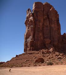 Dog & Monument Valley (Mr. History) Tags: monument monumentvalley utah arizona red blue dry desert trees