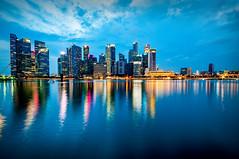 Singapore CityScape (alien_scream) Tags: merlion singapore water sky blue city cityscape sunset reflection