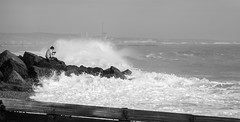 Oblivious (tom ballard2009) Tags: shoreham sussex beach sea seascape seashore waves rocks man phone oblivious mono blackandwhite blackwhite