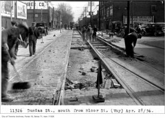 Dundas St, south, from Bloor St, (Way Department) – 1936 (// Vintage Toronto Dealerships //) Tags: ttc dundasstetorontoont dundasstwtorontoont bloorstetorontoont bloorstwtorontoont construction trackwork stores
