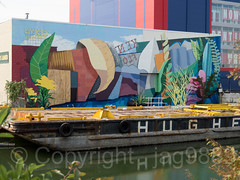 Building Mural, Fourth Street Basin, Gowanus Canal, Brooklyn, New York City (jag9889) Tags: 2018 20181014 architecture barge brooklyn building gowanus gowanuscanal graffiti house industrial kingscounty mural ny nyc newyork newyorkcity outdoor painting reflection river streetart tagging usa unitedstates unitedstatesofamerica water waterway jag9889